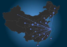 Shanghai center china. This is a map of china with centered headquarters in Shanghai royalty free illustration