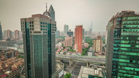 Shanghai center day light roof top cityscape panorama 4k time lapse china. China shanghai center day light roof top cityscape panorama 4k time lapse stock video footage