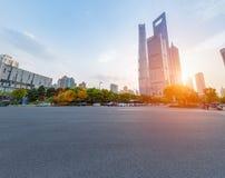 Asphalt pavement in shanghai. Shanghai century avenue street view and asphalt pavement at dusk stock photos