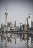 Shanghai china. Wide angle view of Shanghai, China skyline.the landmark of shanghai stock photos