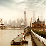 Shanghai, China. China Shanghai Bund, Lujiazui financial district panorama royalty free stock image