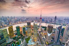 Shanghai, China Cityscape. Shanghai, China aerial cityscape over the Pudong District Stock Photography