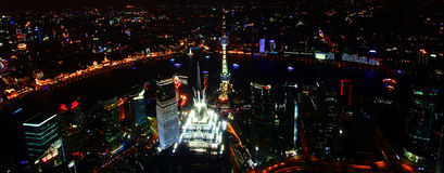 A Shanghai, China, Aerial Night Scene Stock Image