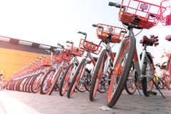 SHANGHAI, CHINA - APRIL 2017: A parking lot of bicycle for sightseeing traveler Stock Image