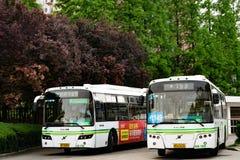 SHANGHAI, CHINA APRIL 2017 : Public bus station of Shanghai city Royalty Free Stock Photo