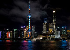 Shanghai, China - August 22, 2017: A night view of the skyscrape Royalty Free Stock Photo