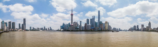 Shanghai, China - circa September 2015: Panorama Skyline of Shanghai across the river at  daytime Royalty Free Stock Photo