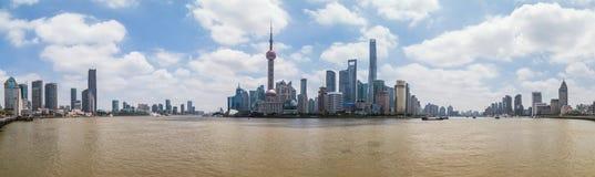 Shanghai, China - circa September 2015: Panorama Skyline of Shanghai across the river at  daytime Royalty Free Stock Photo