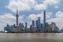 Shanghai, China - circa September 2015: Skyline of Shanghai across the river at  daytime Stock Image