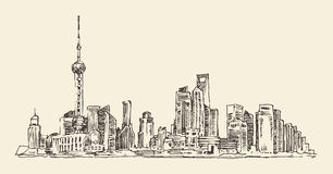Shanghai, China, city architecture, vintage illustration, engraved retro style, hand drawn, sketch,. Shanghai, China, city architecture, vintage illustration royalty free illustration