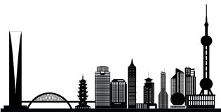 Shanghai china city skyline. With bridge and tower vector illustration