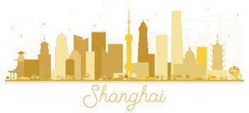 Shanghai China City skyline golden silhouette. Stock Photos