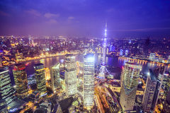 Shanghai, China City Skyline. View over the Pudong Financial District Royalty Free Stock Photography
