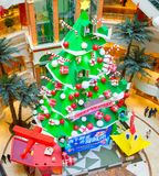 New Year decorated shopping mall Stock Photo