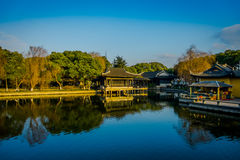 SHANGHAI, CHINA: Famous Zhouzhuang water town, ancient city district with channels and old buildings, charming popular. Tourist area royalty free stock photos