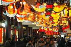 Shanghai, China - Feb 2, 2016: Laternen-Festival im Chinesischen Neujahrsfest (Affejahr) Stockbild