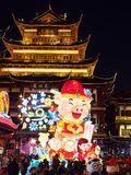 Shanghai, China - Jan. 26, 2019: Lantern Festival in the Chinese New Year Pig year, night view of colorful lanterns and crowded. People walking in Yuyuan Garden stock images