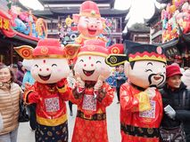 Shanghai, China - Jan. 26, 2019: Lantern Festival in the Chinese New Year Pig year in Shanghai Yuyuan garden royalty free stock images