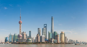 Shanghai, China: 21 januari, 2017: moderne stadshorizon, Shanghai Stock Afbeelding