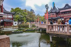 Tourist come to Yuyuan Garden in the holiday,shanghai city china. Shanghai/China - January 25 2015: Tourist come to Yuyuan Garden in the holiday,shanghai city stock images