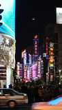Wai Tan at night. Shanghai, CHINA - JANUARY 4, 2014 : Wai Tan Night view Neon Streetlight Rows of buildings Stock Photography