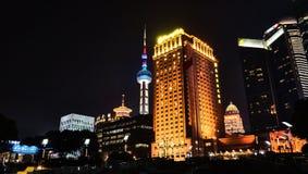 Wai Tan at night. Shanghai, CHINA - JANUARY 4, 2014 : Wai Tan Putong Night view Shanghai China Sea Road Neon Streetlight Rows of buildings Stock Images