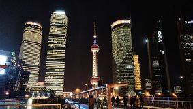 Wai Tan at night. Shanghai, CHINA - JANUARY 4, 2014 : Wai Tan Putong Night view Shanghai China Sea Road Neon Streetlight Rows of buildings Stock Photos