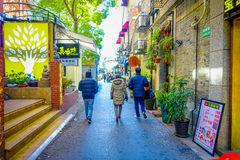 SHANGHAI, CHINA - 29 JANUARY, 2017: Walking around the french concession district of Shanghai, popular destination for Stock Photos