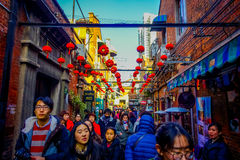 SHANGHAI, CHINA - 29 JANUARY, 2017: Walking around the french concession district of Shanghai, popular destination for Royalty Free Stock Photo