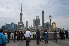 Lujiazui skyline, as seen from the Bund stock photos