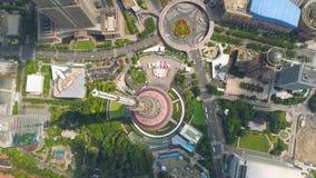 SHANGHAI, CHINA - MAY5 2017: Aerial view down video business skycreapers skyline Huangpu river Pearl. SHANGHAI, CHINA - MAY5 2017: Aerial view down video stock video