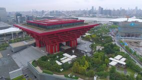 SHANGHAI, CHINA - MAY 7, 2017: Aerial view of Museum of Art pavilion, former Expo site in Shanghai stock video footage