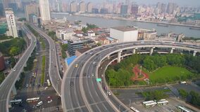 SHANGHAI, CHINA - MAY 5, 2017: Aerial view of Nanpu bridge highway junction, modern architecture stock video footage