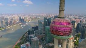 SHANGHAI, CHINA - MAY5 2017: Aerial view video, business skycreapers skyline Huangpu river, Pearl. SHANGHAI, CHINA - MAY5 2017: Aerial view panorama video stock video footage