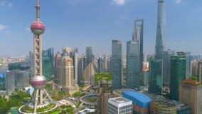 SHANGHAI, CHINA - MAY5 2017: Aerial view video, business skycreapers skyline Huangpu river, Pearl. SHANGHAI, CHINA - MAY5 2017: Aerial view panorama video stock footage