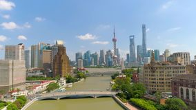 SHANGHAI, CHINA - MAY 5, 2017: Aerial view video, business skycreapers skyline Huangpu river bridge stock footage