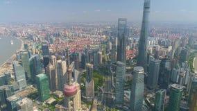 SHANGHAI, CHINA - MAY5 2017: Aerial view video, business skycreapers skyline Huangpu river, Pearl. SHANGHAI, CHINA - MAY5 2017: Aerial view panorama video stock video
