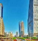 SHANGHAI,CHINA- MAY 24 :Beautiful and office skyscrapers, city b Royalty Free Stock Photography