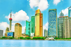 SHANGHAI,CHINA- MAY 24, 2015 :Beautiful and office skyscrapers, Stock Image