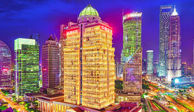 SHANGHAI, CHINA - MAY 24, 2015: Beautiful and office skyscrapers Royalty Free Stock Photos