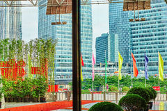 SHANGHAI, CHINA- MAY, 24, 2015: Beautiful skyscrapers, city buil Stock Photo