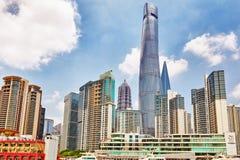 SHANGHAI, CHINA- MAY, 24, 2015: Beautiful skyscrapers, city buil Royalty Free Stock Photo