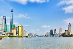 SHANGHAI, CHINA - MAY 24, 2015:Beautiful view skyscrapers, water Stock Images