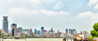 SHANGHAI, CHINA - MAY 24, 2015:Beautiful view skyscrapers, water Royalty Free Stock Photography