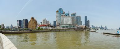 Bridge over Wusong river in Shanghai, China. SHANGHAI, CHINA - MAY 04, 2016: Bridge over Wusong river and Shanghai north district panorama Royalty Free Stock Photos