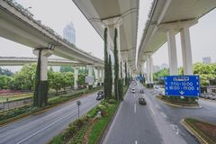 Dragon Highway, Shanghai, China. SHANGHAI, CHINA - MAY 05, 2016: Dragon Highway in People Square Residential District stock images