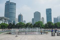 Shanghai Museum in Shanghai, China. SHANGHAI, CHINA - MAY 05, 2016: Fountain near Shanghai Museum - People's Square. Shanghai is the largest city by population royalty free stock images