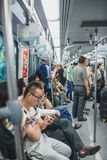 Shanghai Metro, China. SHANGHAI, CHINA - MAY 05, 2016: Full metro train in Changhai, China Stock Photo