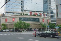 Marks and Spencer store in Shanghai, China. SHANGHAI, CHINA - MAY 05, 2016: M&S store in Shanghai. Marks and Spencer plc is a major British multinational royalty free stock photos