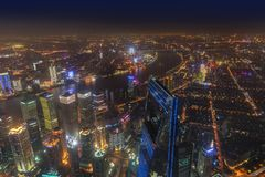 Shanghai, China - May 23, 2018: A night view from Shanghai tower royalty free stock photography